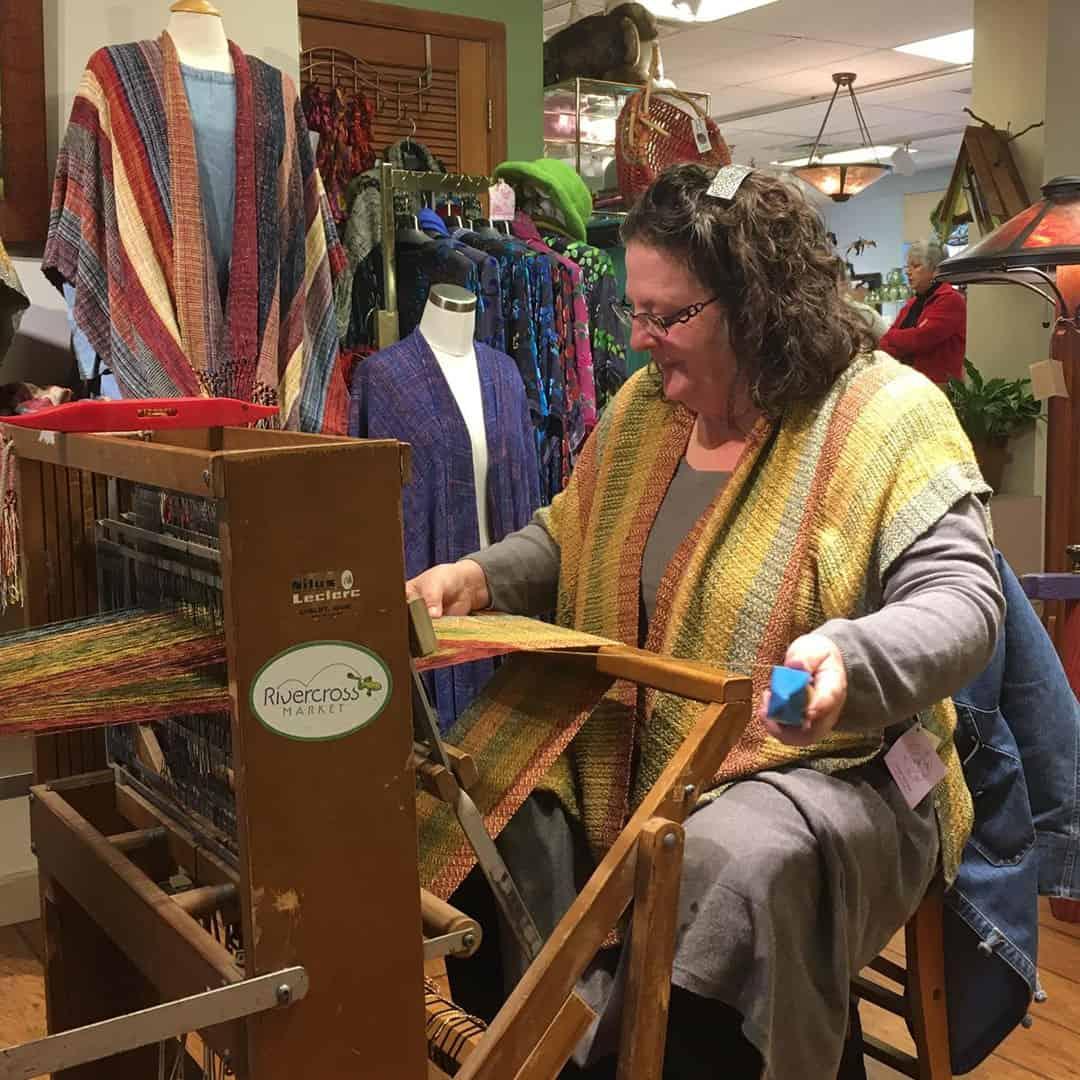 Cindy Long at her weaving loom